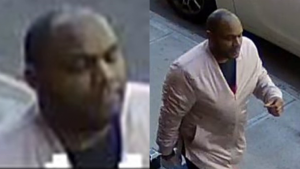 Images from surveillance video show a person of interest in connection with an assault on an Asian-American woman on Monday in NYC