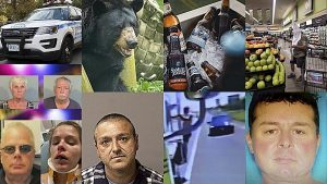 NYPD squad car; bear and beers; KKK-hooded shopper; Jerry Archer; Gabriel Moreno; Uber driver Carolina Vargas and Christopher Miller; Carole Harwood and William Nash