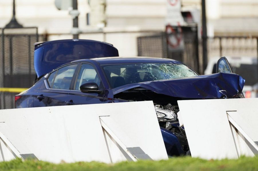 The car that crashed into a barrier on Capitol Hill is seen near the Senate side of the U.S. Capitol in Washington, Friday