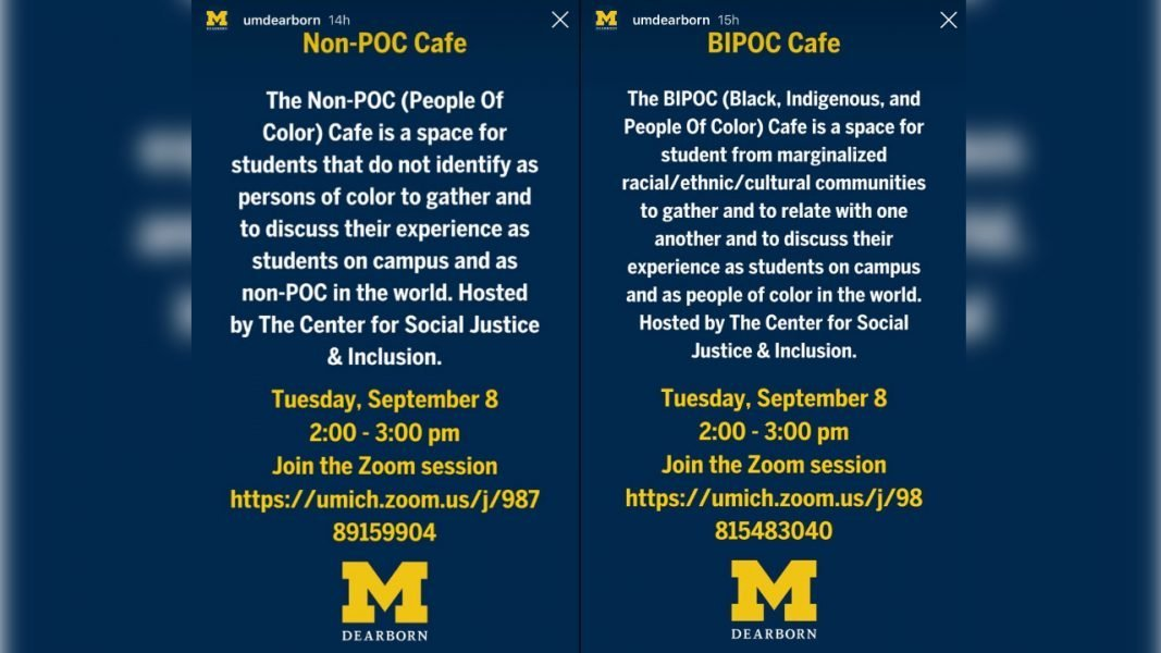 """university advert for the online student """"cafes,"""" one for white people and another for people of color"""