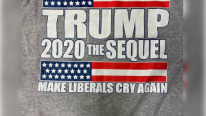 "The back of high school sophomore Morgan Earnest's T-shirt. The message reads: ""Trump 2020 The Sequel: Make Liberals Cry Again."""