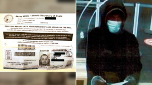 Edner Flores's state ID card (left) and the suspect hooded and masked in bank surveillance video