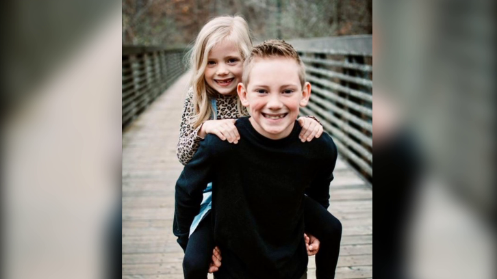 9-year-old Ethan Walker and his 6-year-old sister Audrey
