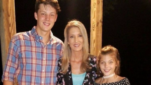 family photo of mom Carol Hardy with her son Kayden and daughter
