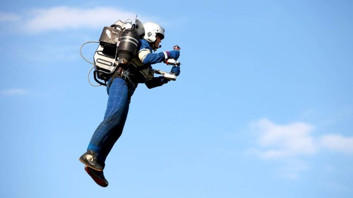 man flying with jetpack