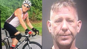 Virginia man David Marlowe on his bike and in a police mugshot