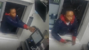 Surveillance footage stills show the Tennessee woman leaning through a Burger King drive-thru window and opening fire after apparently becoming enraged at the wait time for her order