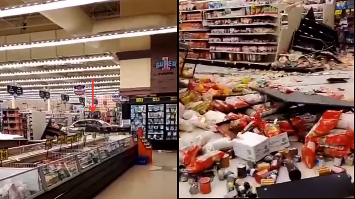 Screengrab of clip from a horrified shopper who filmed the car cruising along an aisle at the grocery store in Columbia Falls, Montana, causing mayhem