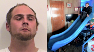Suspect Dustin Bushnell (left) and his nemesis Detective Julie Lee posing with the pilfered playground slide