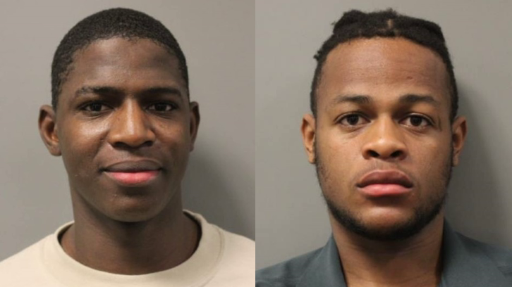 "mug shots of Pierre Jean (left) and his ""stabbed"" older brother Denidson"