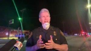 San Antonio Police Chief William McManus giving a media briefing