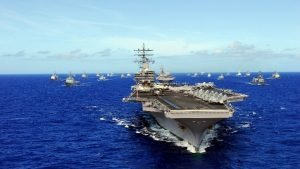 The USS Ronald Reagan and other ships transit the Pacific during a maritime warfare exercise