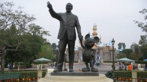 'Partners', copper statue of Walt Disney holding the hand of his most famous creation, Mickey Mouse