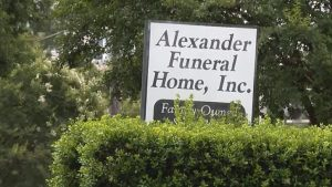 sign at the Alexander Funeral Home in Charlotte, North Carolina