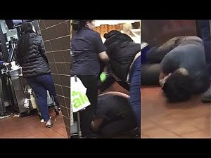 The McDonald's customer going to assault the server, who is left lying on the floor