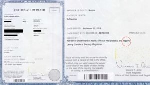 copy of the fake death certificate with glaring error submitted to avoid a jail sentence