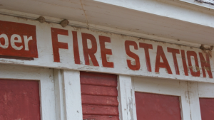 close up of fire station