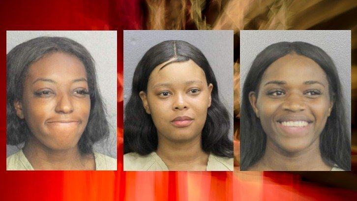 police mugshots of Tymaya Wright, Danaysha Dixon and Keira Ferguson, the three Philadelphia women arrested after the airport brawl