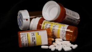 Bottles of prescription hydrocodone pills