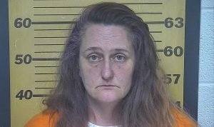 Police mugshot of Katrina Morgan, who called police in Port Clinton, Ohio, to report that her private parts were on fire