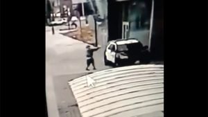 Security camera video shows the gunman walking up to sheriff's deputies and opening fire without warning