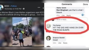 """screen grab of Police Chief Tim Porter's """"misposted"""" Facebook comment"""
