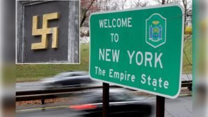 swastika and welcome to New York sign
