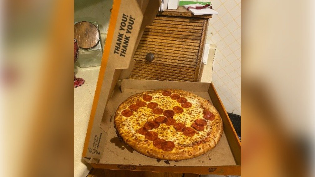 pizza with pepperoni swastika