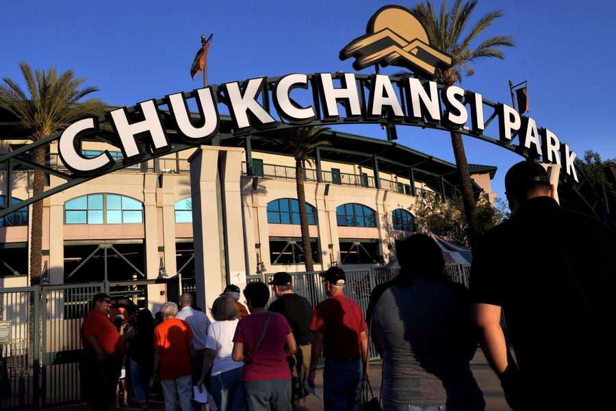 entrance to Chukchansi Park, home of the Fresno Grizzlies, where the eating competition was held