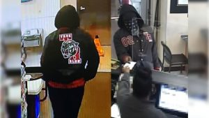 surveillance video captured the masked robber (right) handing over his note to the bank teller
