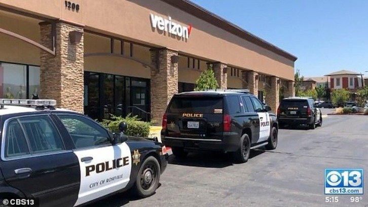 police cars outside the Verizon store in Roseville