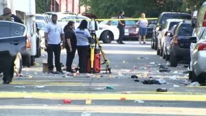 Law enforcement on Sunday working the scene of the shooting in Southeast Washington, D.C.